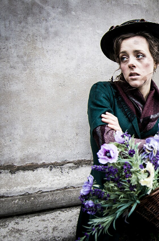 Mimi Kroll as Eliza Doolittle in the piazza in Covent Garden for the My Fair Lady promotional photoshoot